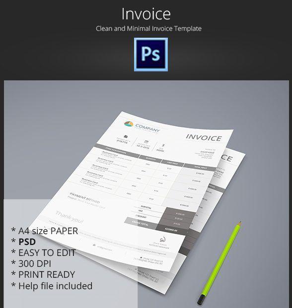 Free Minimal Invoice Template PSD Print Templates Pinterest - Invoice template psd