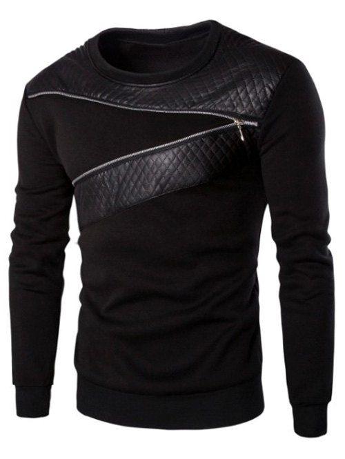 Mens Winter Zip Leather Sweatshirt Coat Jacket Outwear Pullover Tops Sweater