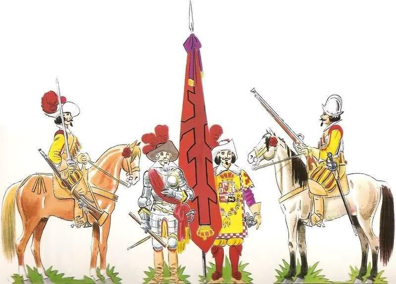 Los Tercios Españoles | El capitán es una persona designada por el rey para que mande una compañía, él es quien decide de qué arma va a ser formada la compañía (cuando no había mezcla de armas): picas, arcabuces o mosquetes.