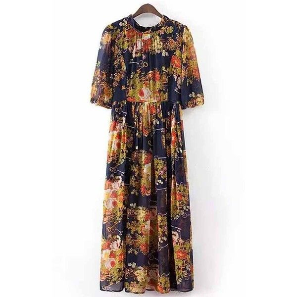 Dark Blue Floral Print Boho Maxi Dress ($28) ❤ liked on Polyvore featuring dresses, bohemian dresses, bohemian maxi dress, loose dresses, floral print dress and bohemian summer dresses