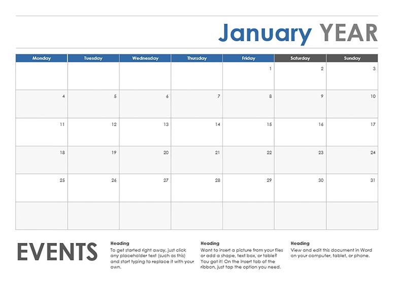 #January Calendar Monday Start