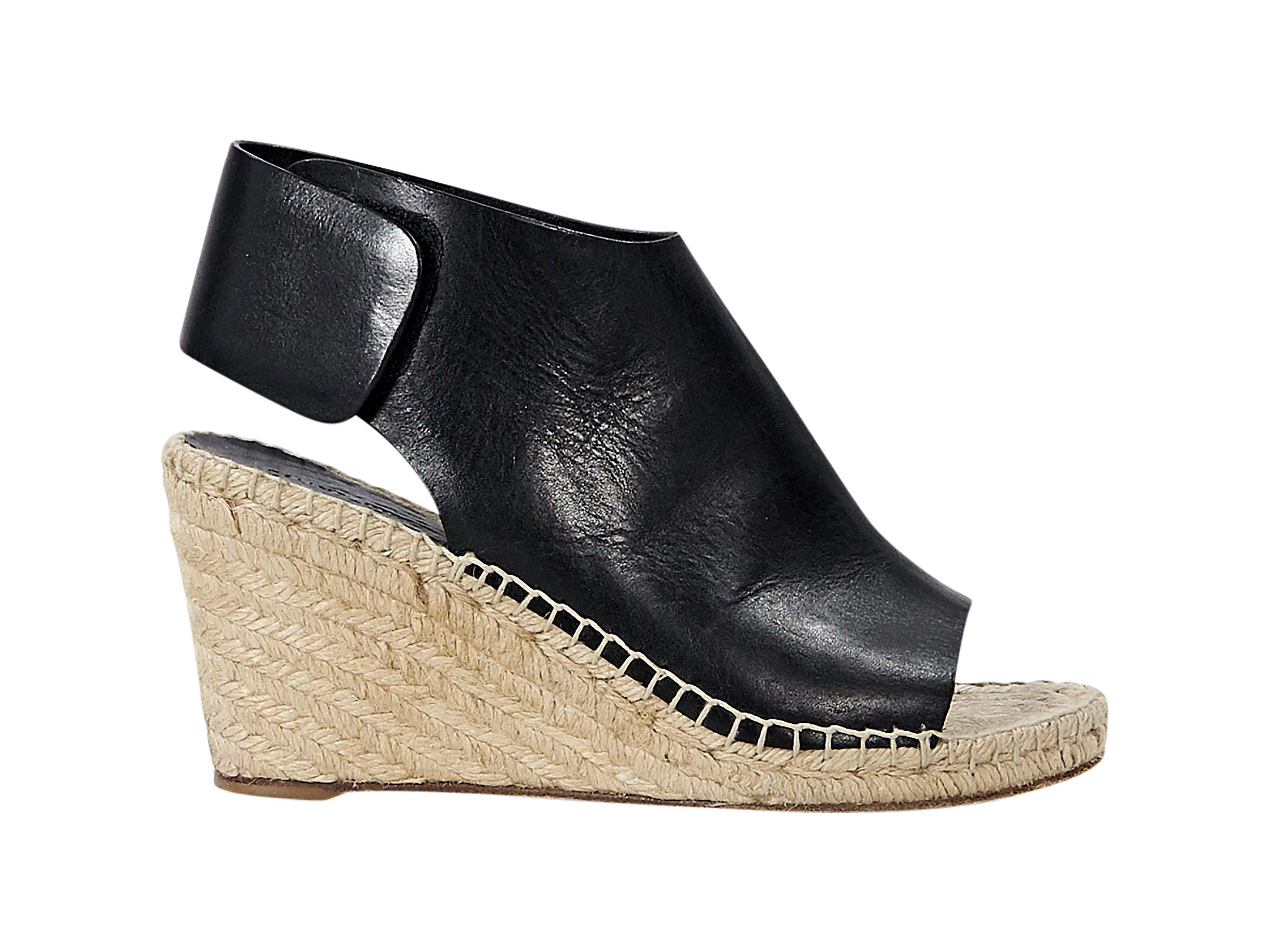 16c9372e9fe Black Céline Leather Espadrille Wedge Sandals