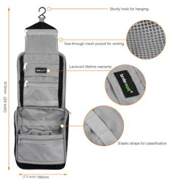 68c1eca71e Amazon.com   Lavievert Toiletry Bag   Portable Travel Organizer   Household  Storage Pack   Bathroom Makeup or Shaving Kit with Hanging for Business