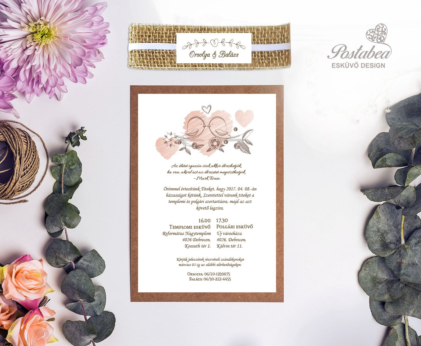 96a0b72c6f Madaras vintage esküvői meghívó | Postabea | Rusztikus, vintage ...