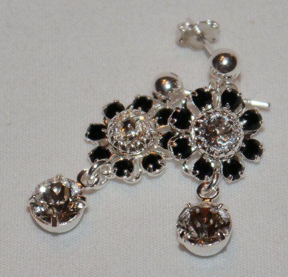Swarovski Crystal Flower Sterling Silver by AliciasUniqueDesigns
