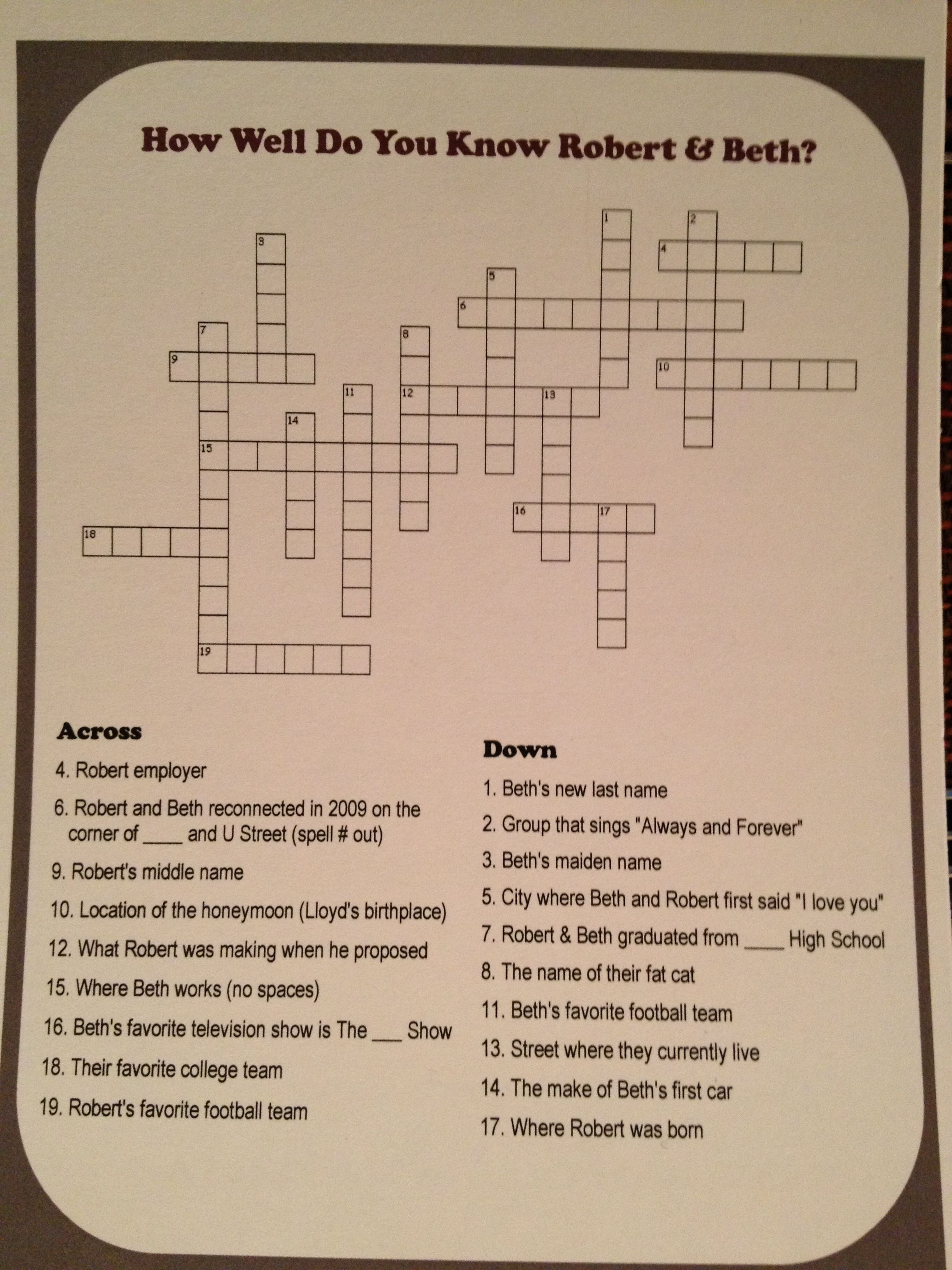 diy wedding or bridal shower crossword puzzle