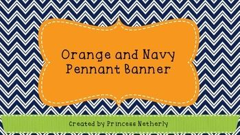 Navy And Orange Pennant Banner Teachers Pay Teachers Resources