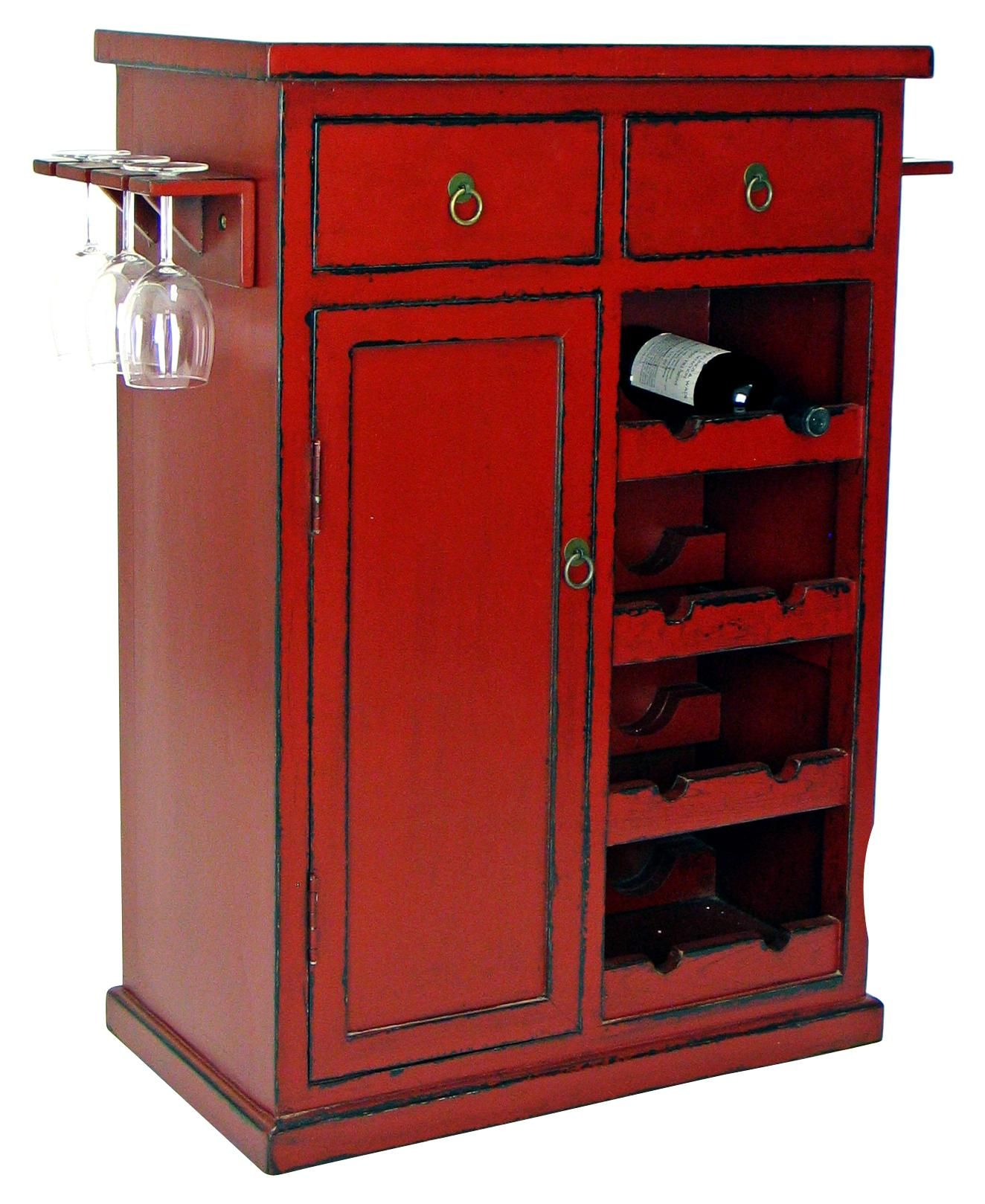 Hand Painted Red Finish Solid Birch Wine Cabinet H5506 Lamps Plus Wine Cabinets Wine Cabinet Modern Modern Bar Table