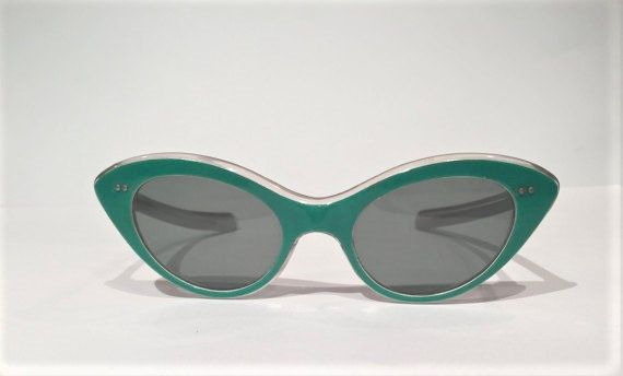 Vintage 50s 60s Green Cat Eye Sunglasses New by MotownLostandFound