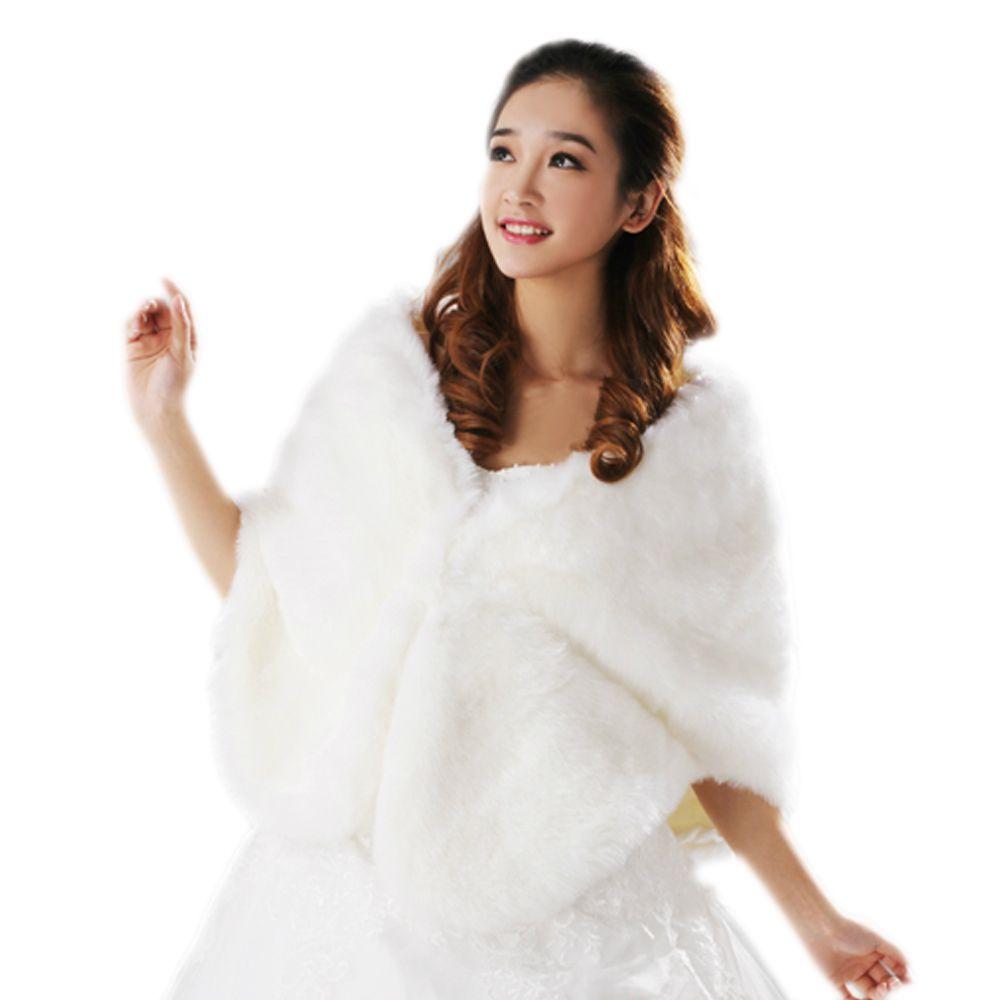 US $9.89  Günstige 2019 Schwarz Bolero Jacke Hochzeit Kleid Winter Warme Faux Pelz Braut Cape Party Prom Schal Formale Braut Jacken in Hochzeitsjacken