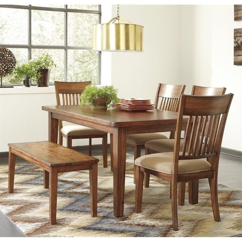 Lowest price online on all Ashley Shallibay 6 Piece Dining Set with Bench in…