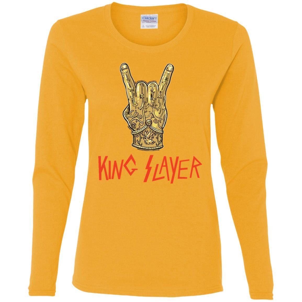 King Man Slayer T-Shirt G540L Gildan Ladies' Cotton LS T-Shirt