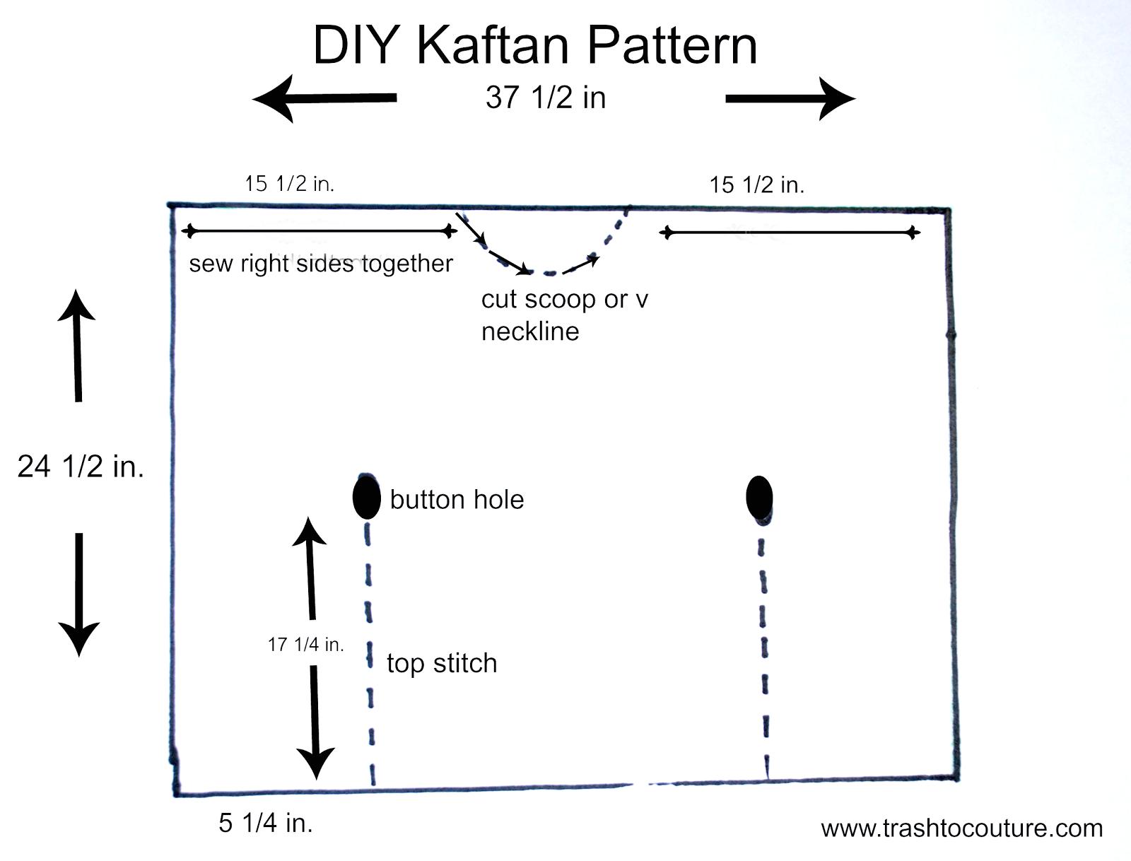 DIY Kaftan pattern | Diy nähen und Nähen