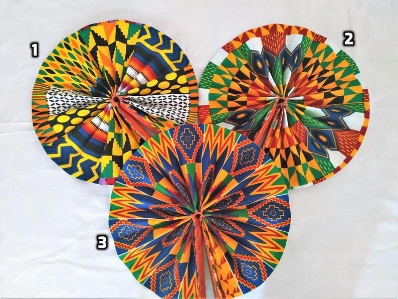 African Ankara hand Fan, gift for women, Ghana Handmade