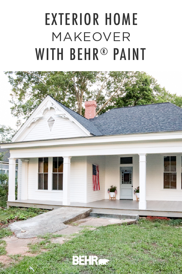 Our Front Porch Behr Stain Before After White Exterior Paint White Exterior Houses Diy Exterior