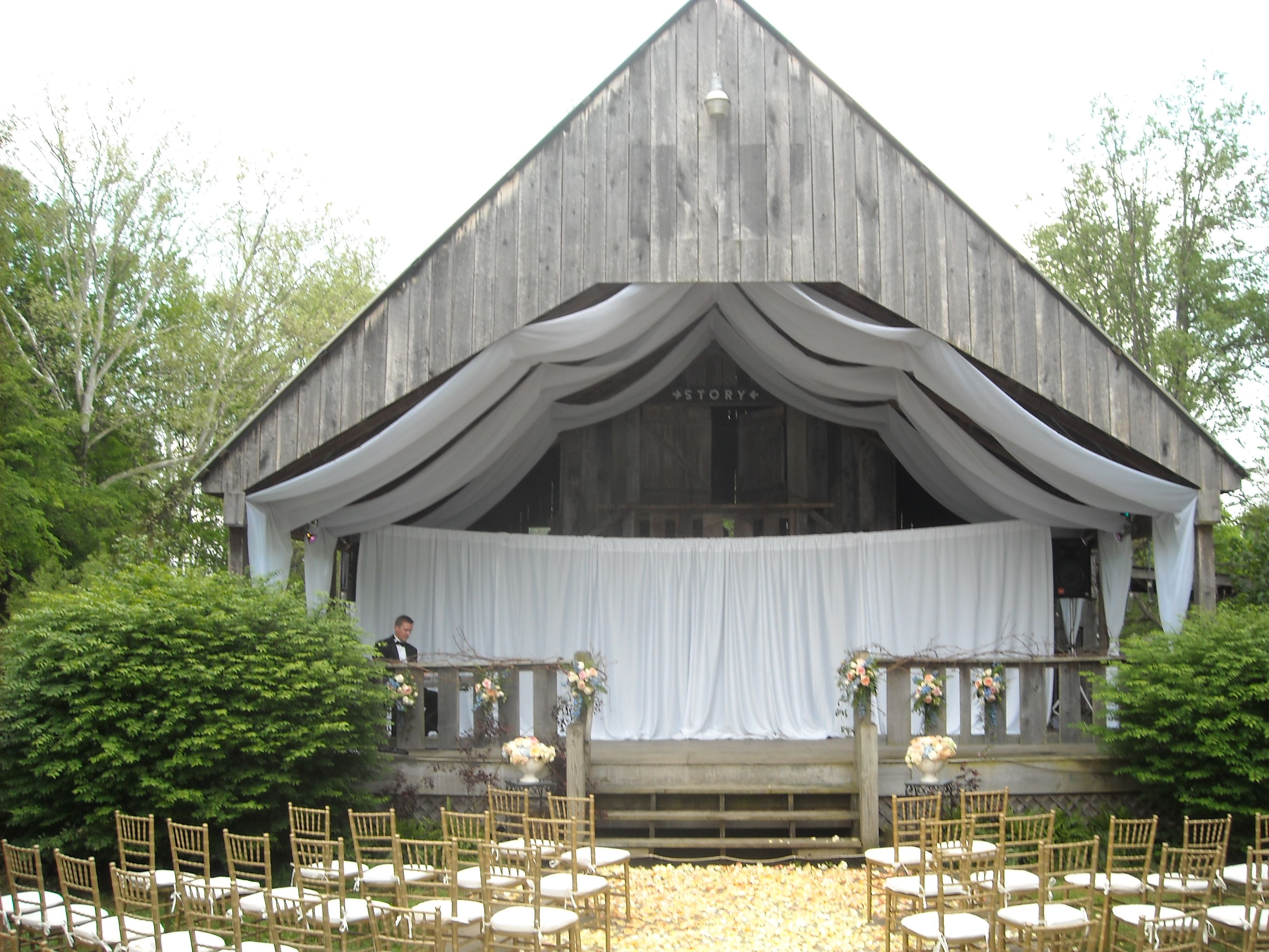 Drapery And Fabric Ceiling Swag Liner For Barn Alter At Story Inn Indiana