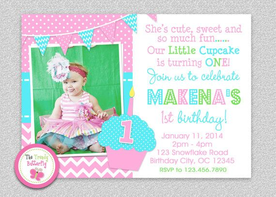 1st Birthday Cupcake Invitation Cupcake 1st by TheTrendyButterfly