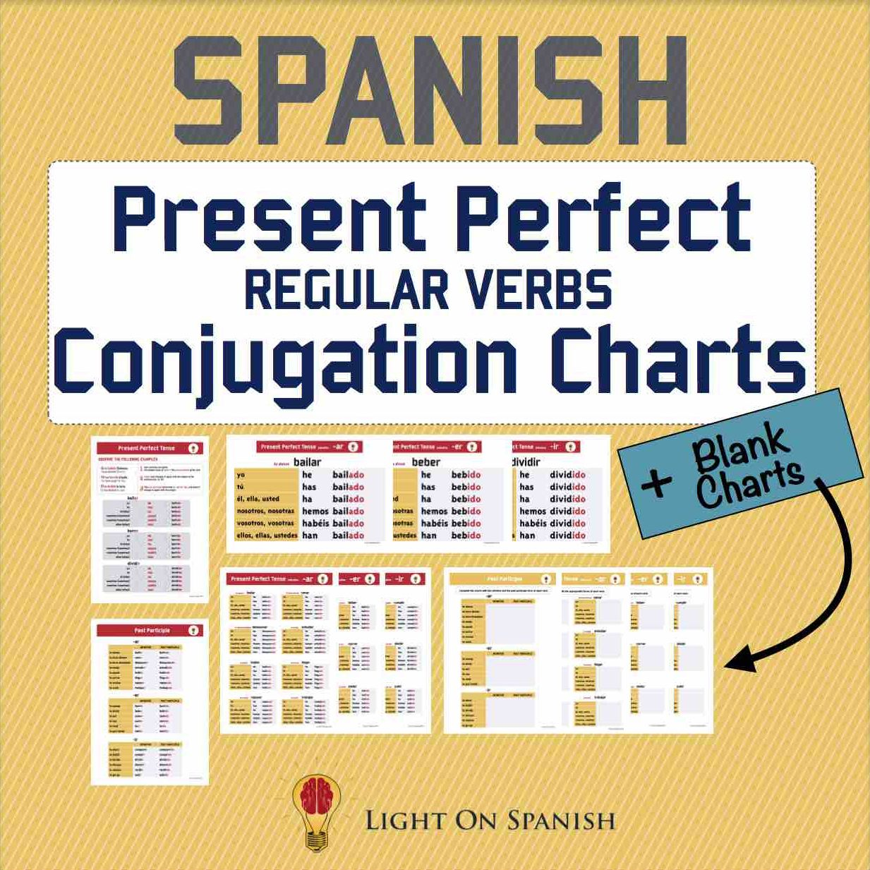 Spanish Present Perfect Regular Verbs Conjugation Charts