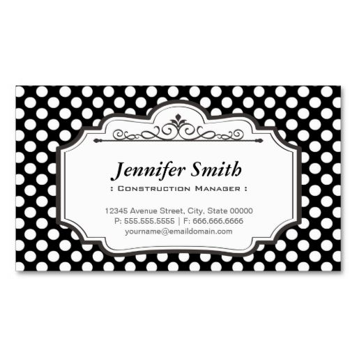 Construction Manager Black Polka Dots Business Card Zazzle Com Printing Business Cards Freelance Business Card Elegant Business Cards
