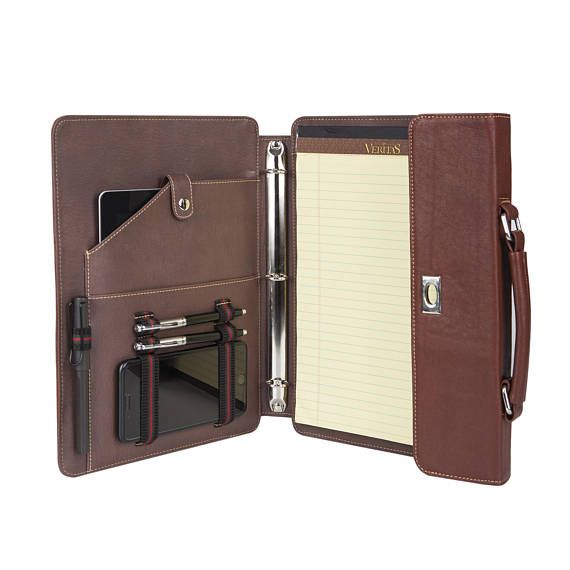 Personalized Fine Leather 3 Ring Binder Portfolio Zippered
