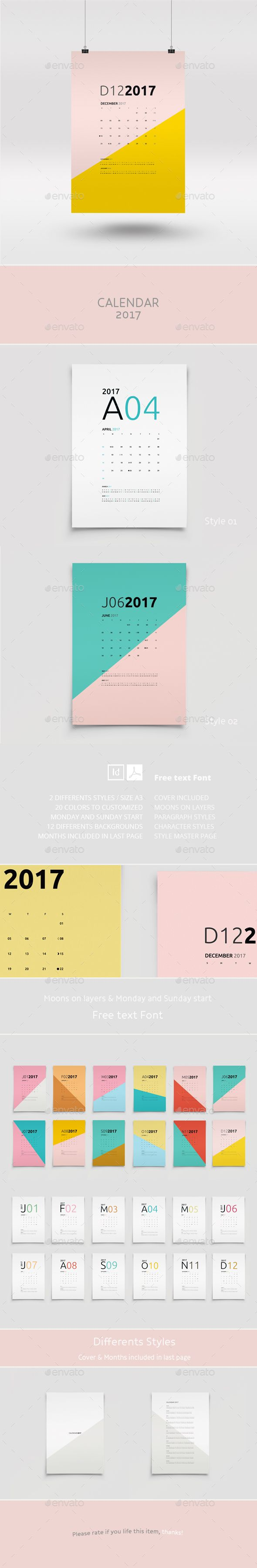 Calendar 2017 — InDesign Template #month • Download ➝ https ...