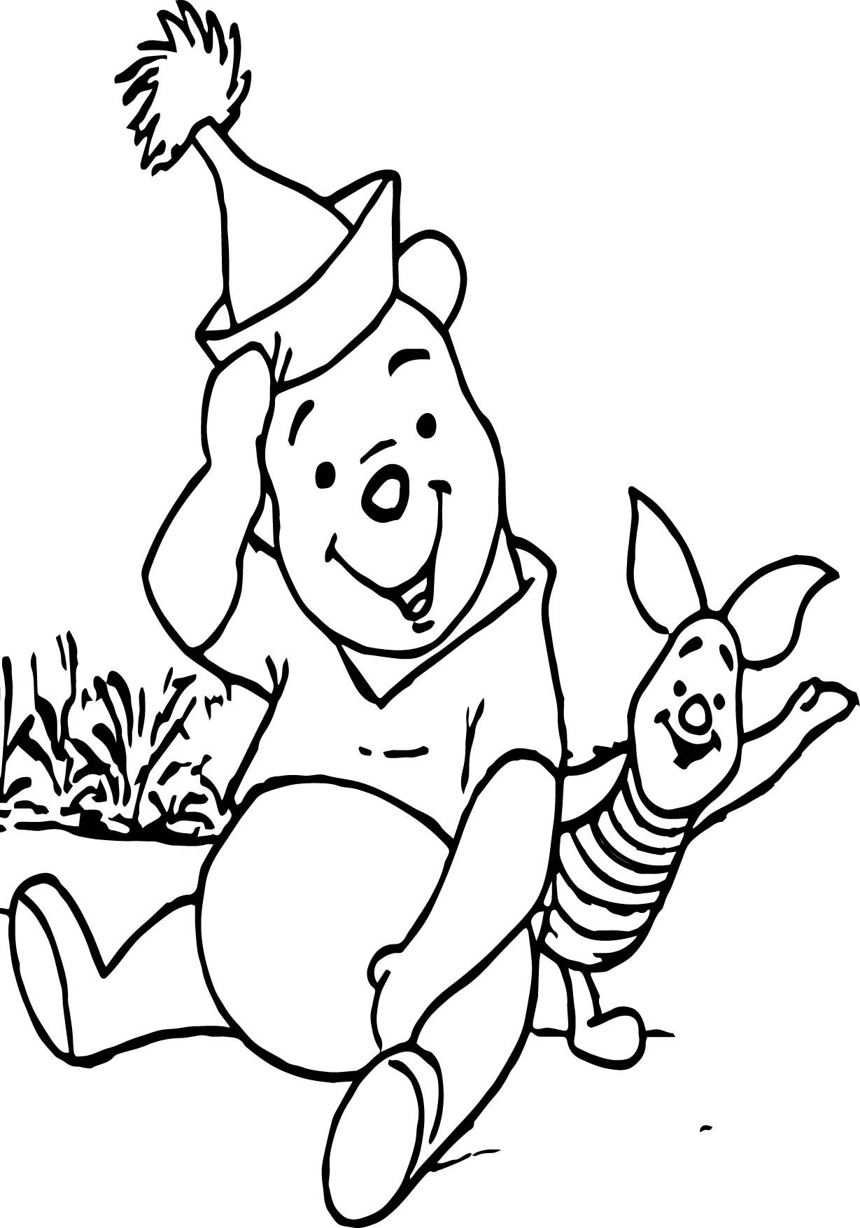 Awesome Winnie The Pooh Piglet Say Hello Coloring Page
