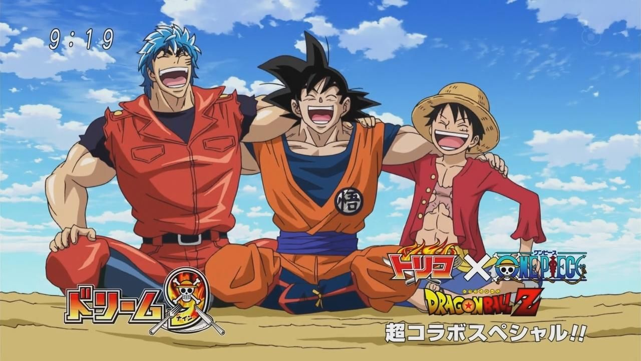 One piece x dragon ball x toriko best crossover two episodes these three have da power to - Dbz one piece ...