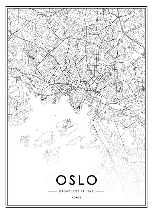 kart kjøp Oslo plakat med kart | Svarthvitt plakat med Oslokart | Kjøp  kart kjøp