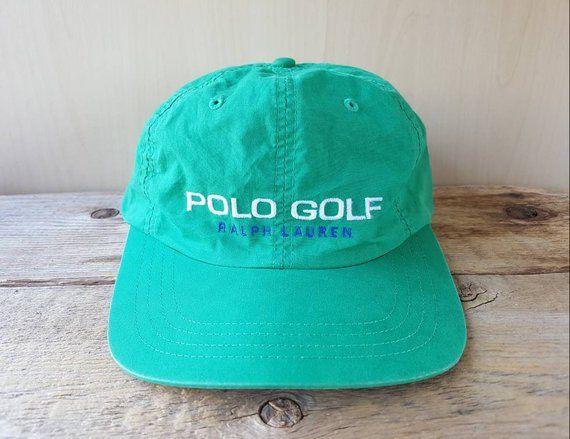 20198f2224b08 POLO GOLF Ralph Lauren Vintage 90s Strapback Hat Aqua Green 6 Panel  Designer Name Dad Cap Rare Adjustable Cotton Ballcap