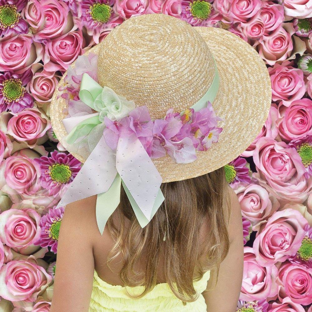 Il Trenino - Girls Straw Hat with Green Ribbon & Flowers | Childrensalon #StylishLittleMoppets  @Little_Moppets