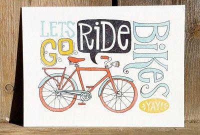 Let's Go Ride Bikes Letterpressed Print /  onecanoetwo