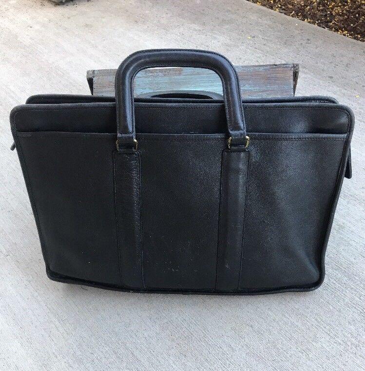 0cd04a31772d2 VINTAGE COACH Soft Black Leather Briefcase Attache Bag Satchel Bag ...