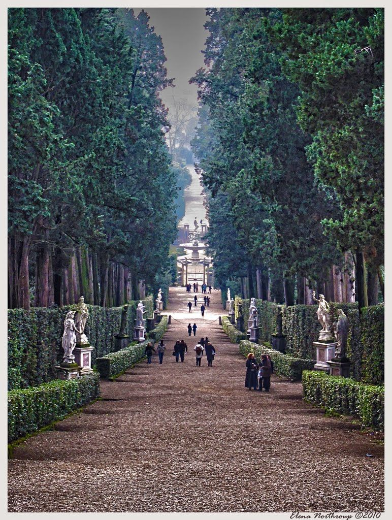 Italian Florence: Boboli Gardens, Florence, Italy. The View Of Florence From