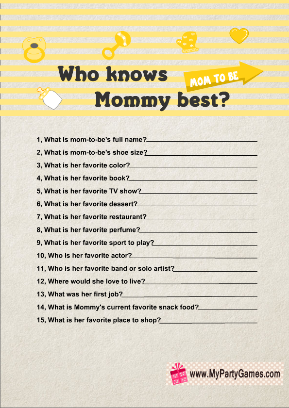 Who Knows Mommy Best Game Printable In Yellow Color Stuff