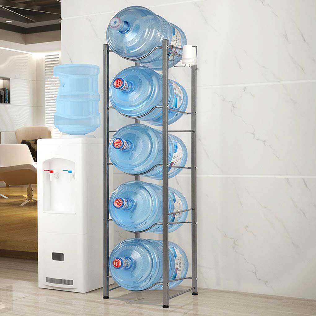 5 Tier 5 Gallon Water Bottle Holder Shelf Metal Heavy Duty Water Cooler Jug Rack Stand In 2020 Bottle Storage Rack Water Bottle Storage Rack Water Bottle Storage