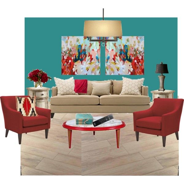 casual living room | teal walls, red accents and teal