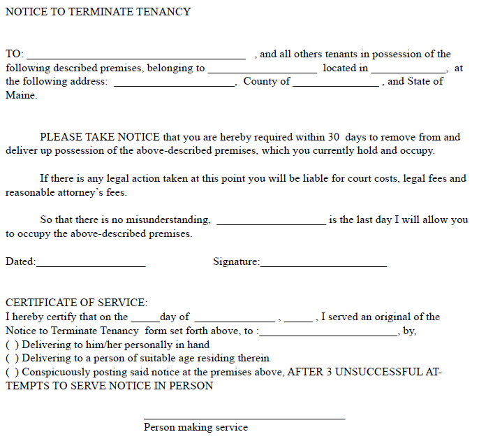 Maine 30 Day Notice To Terminate Tenancy | EZ Landlord Forms   30 Day Eviction  Notice  Landlord Eviction Notice Sample