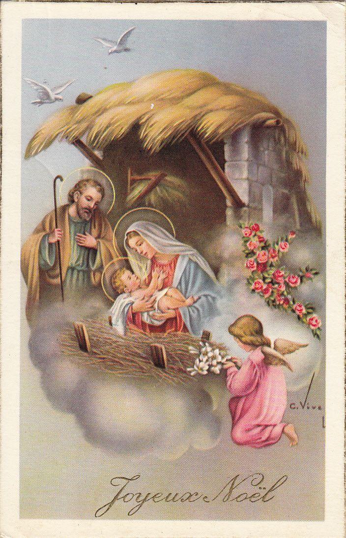 Joyeux Noel Merry Christmas 1957 2scans Nascimento De Jesus Natividade Maria Mae De Jesus