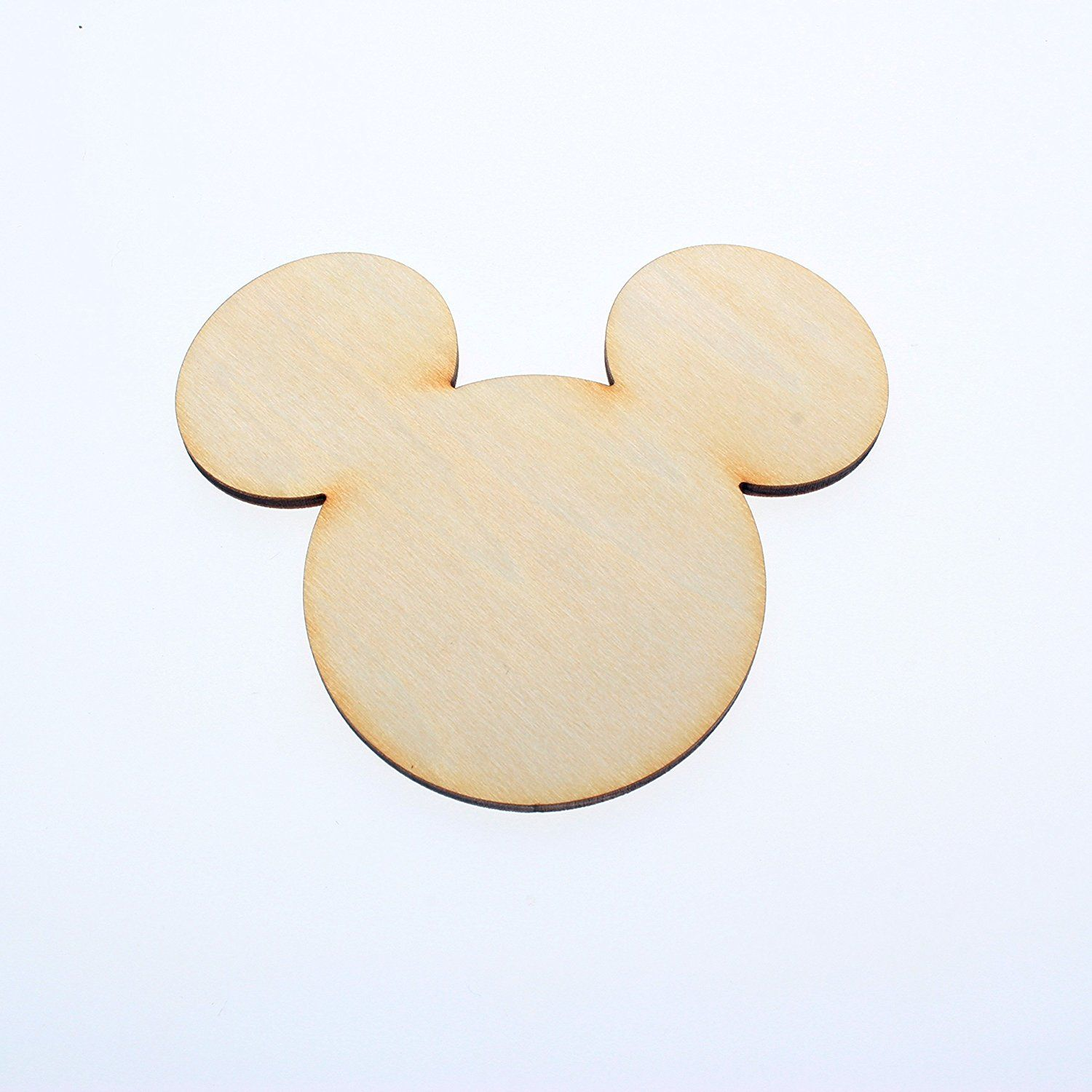 Yuhoshop 50pcs 4 5 Wide X 1 8 Inch Wooden Mickey Mouse Head
