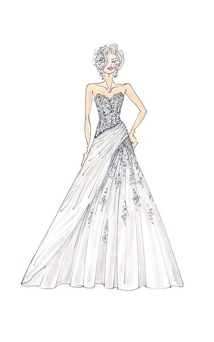 Starting from a fitted bodice, the skirt of an A-line gown