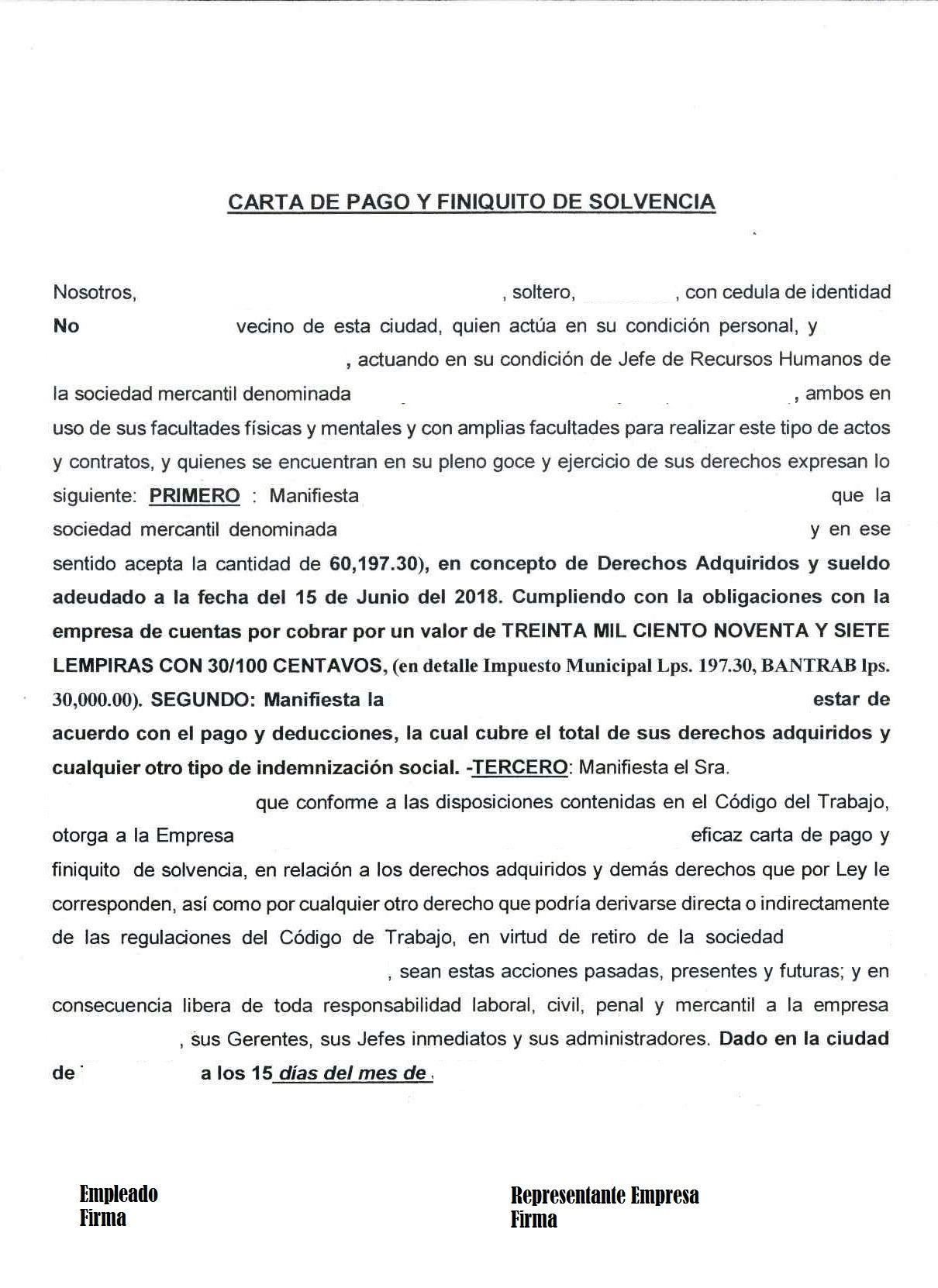 Carta De Finiquito Ejemplo Para Imprimir Y Agregar Otros Datos Del Empleado Y Empresa Ejemplo De Carta Cartas Sociedad Mercantil