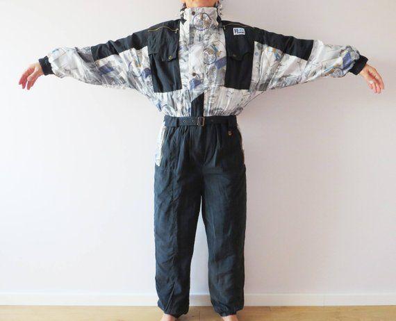 690526ef5e0c Vintage 80s One Piece Ski Suit Black Retro Snowsuit Hipster Snow Pants All  in One Men Ski Suit Winter Wear Snow Gear Snowboard Jumpsuit Medium Label  Size  M ...