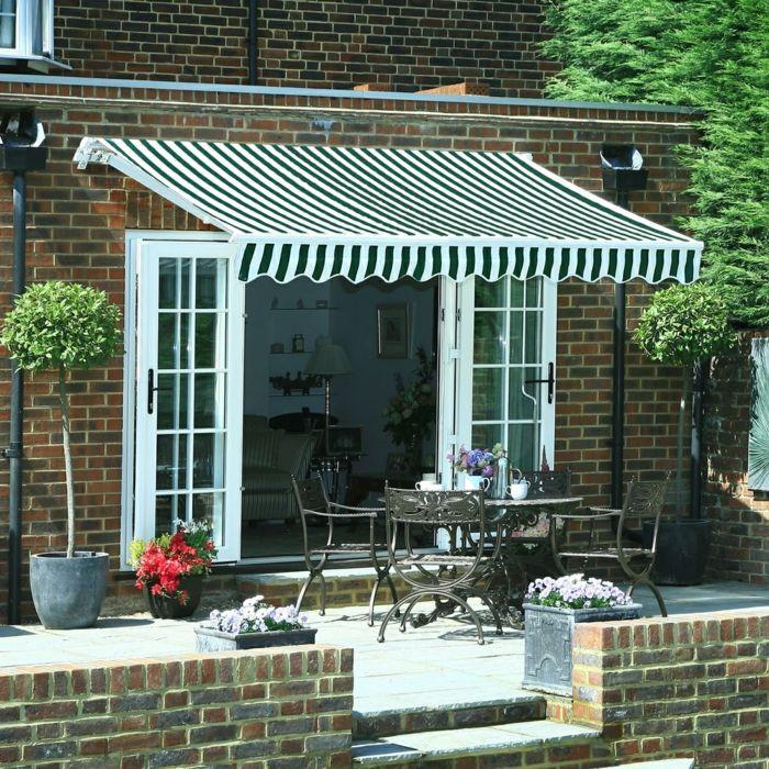 Terrassenüberdachung Veranda Stoff Streifen Stilvoll Pflanzen
