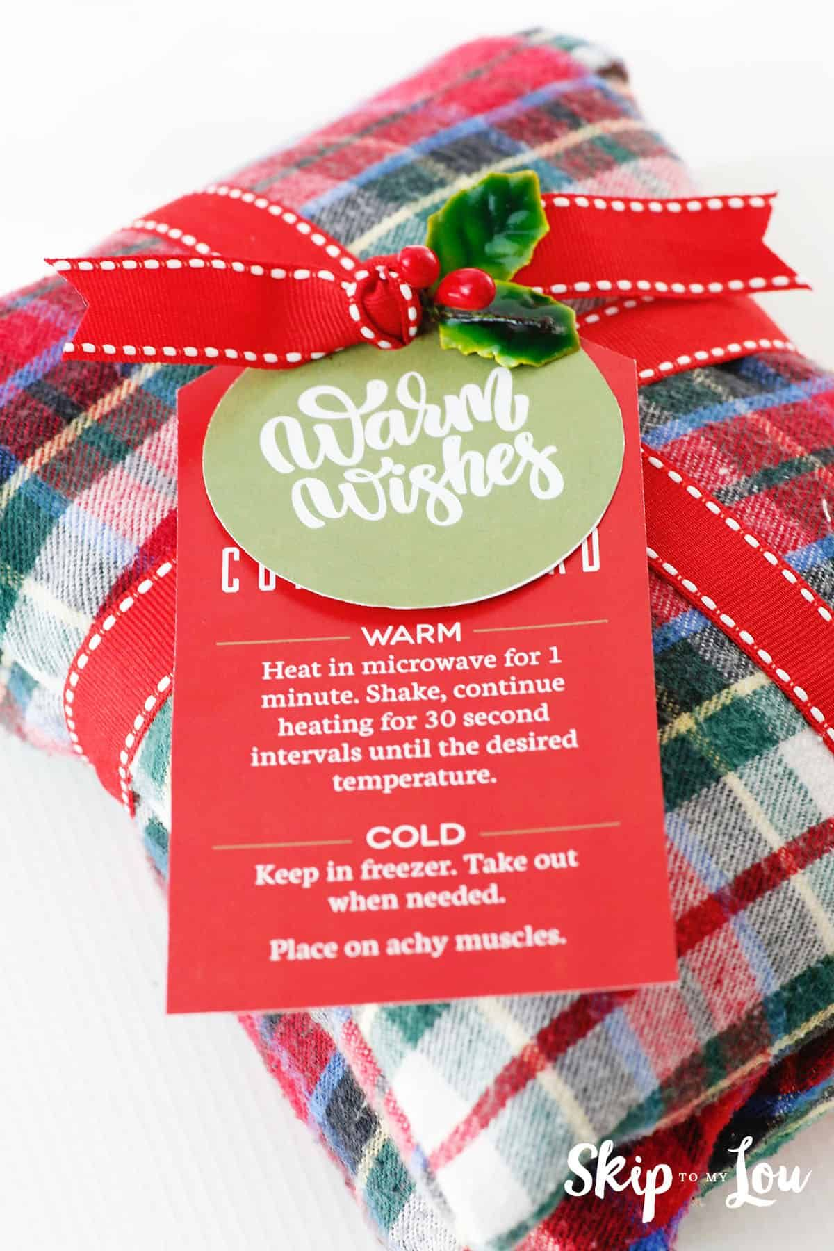 rice heating pad & gift tags tutorial for making bag