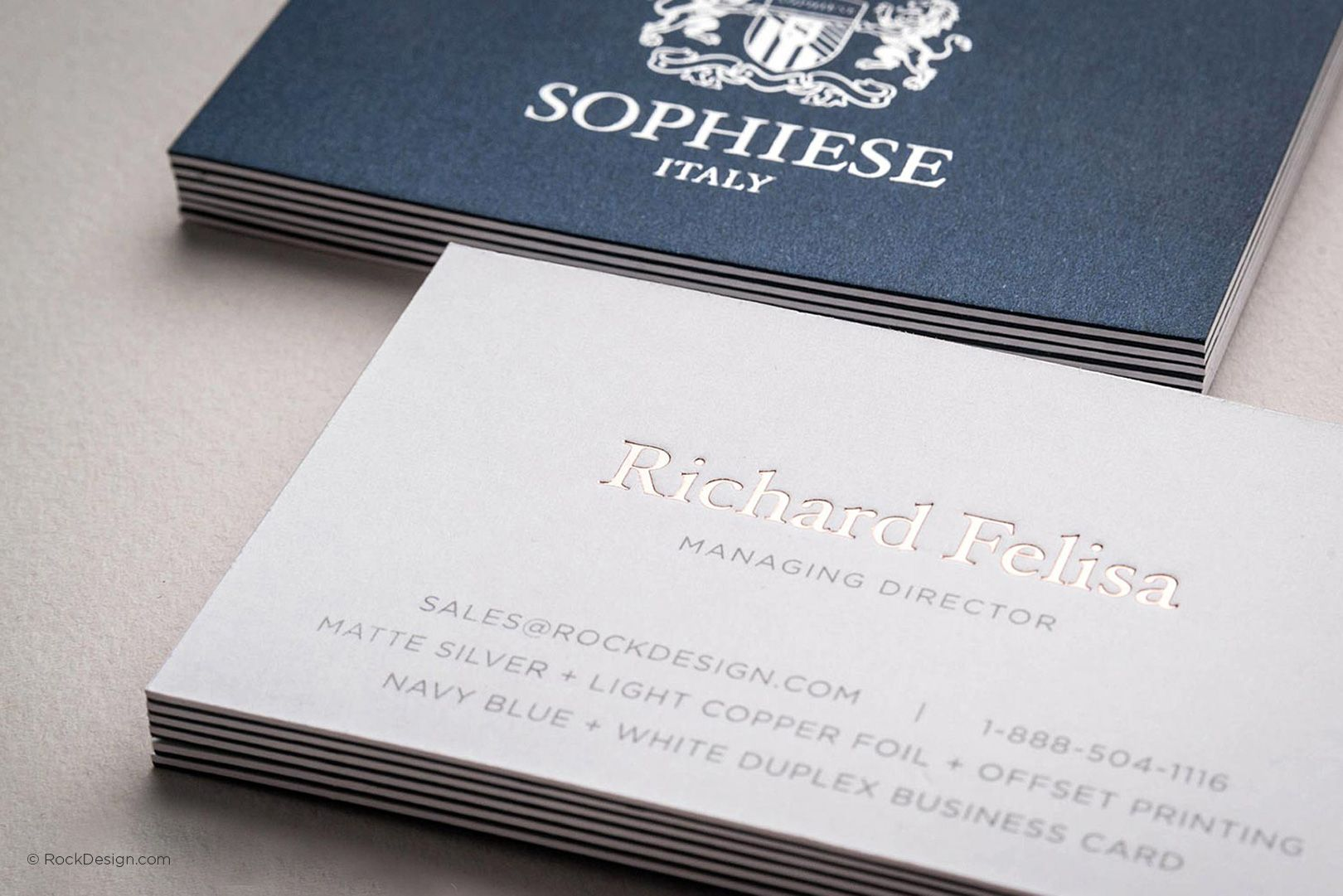 Fancy custom navy blue and white duplex business card with foil ...