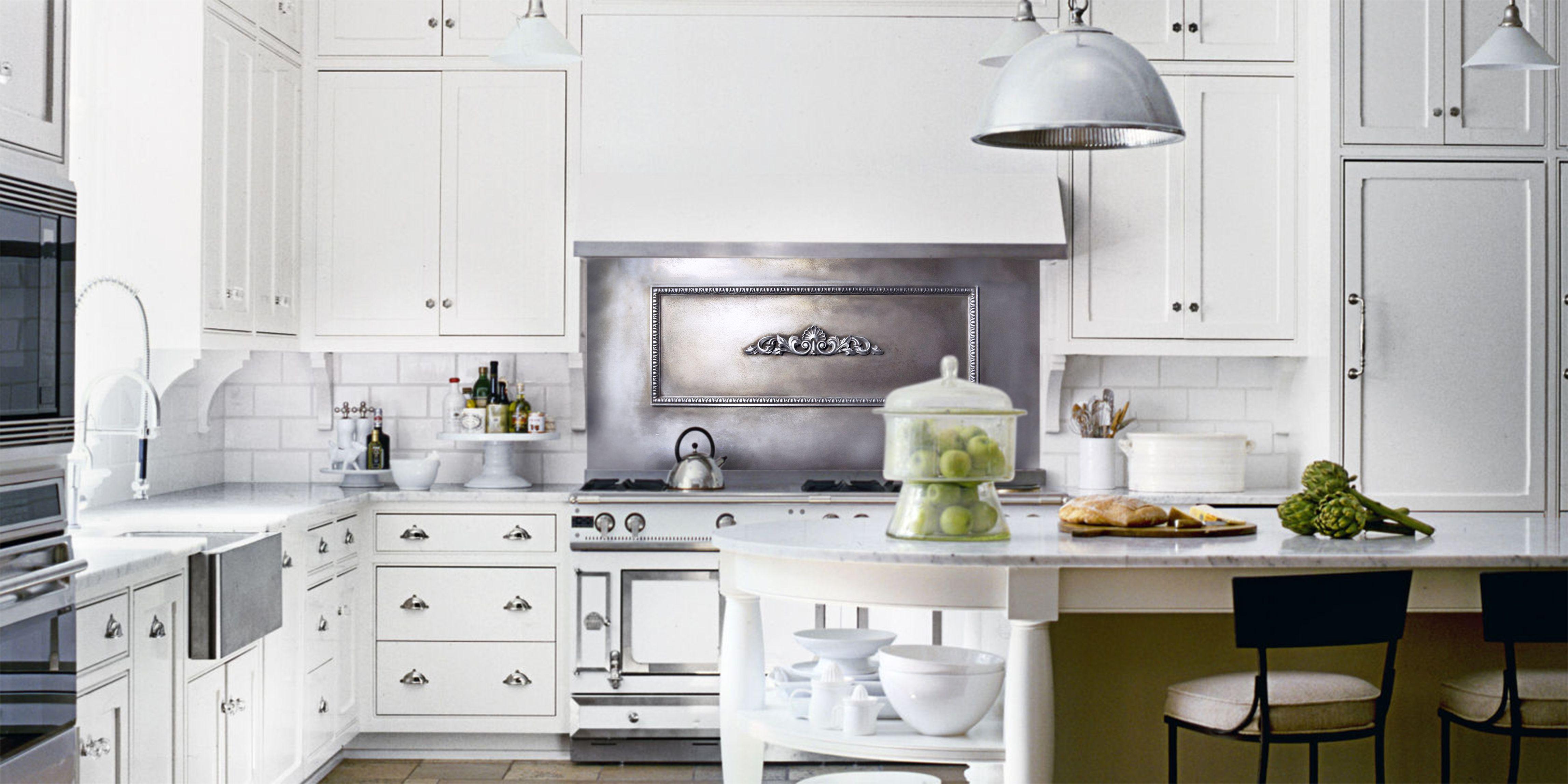 Custom Cast Zinc Backsplash By La Bastille In Savannah Ga White Kitchen Kitchen Decor Kitchen Design