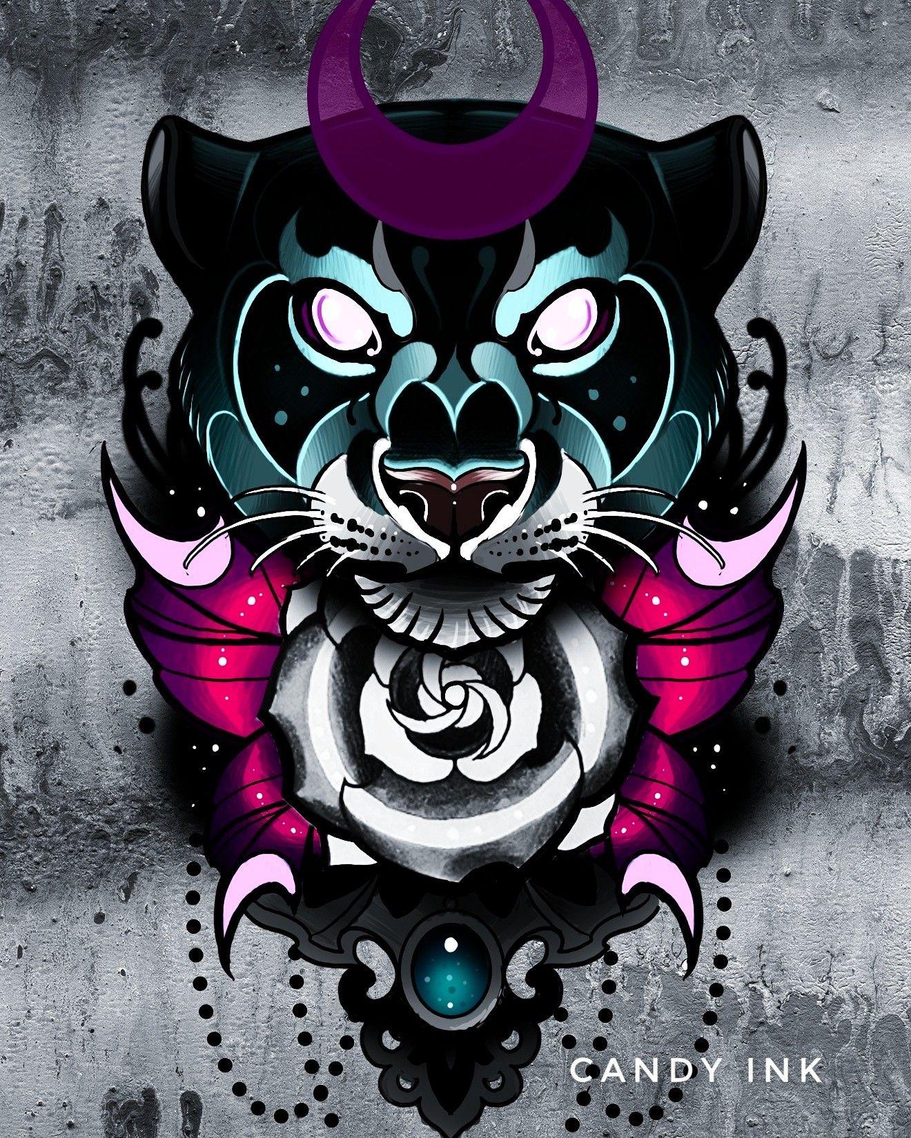 neo traditional dark tattoo design black panther