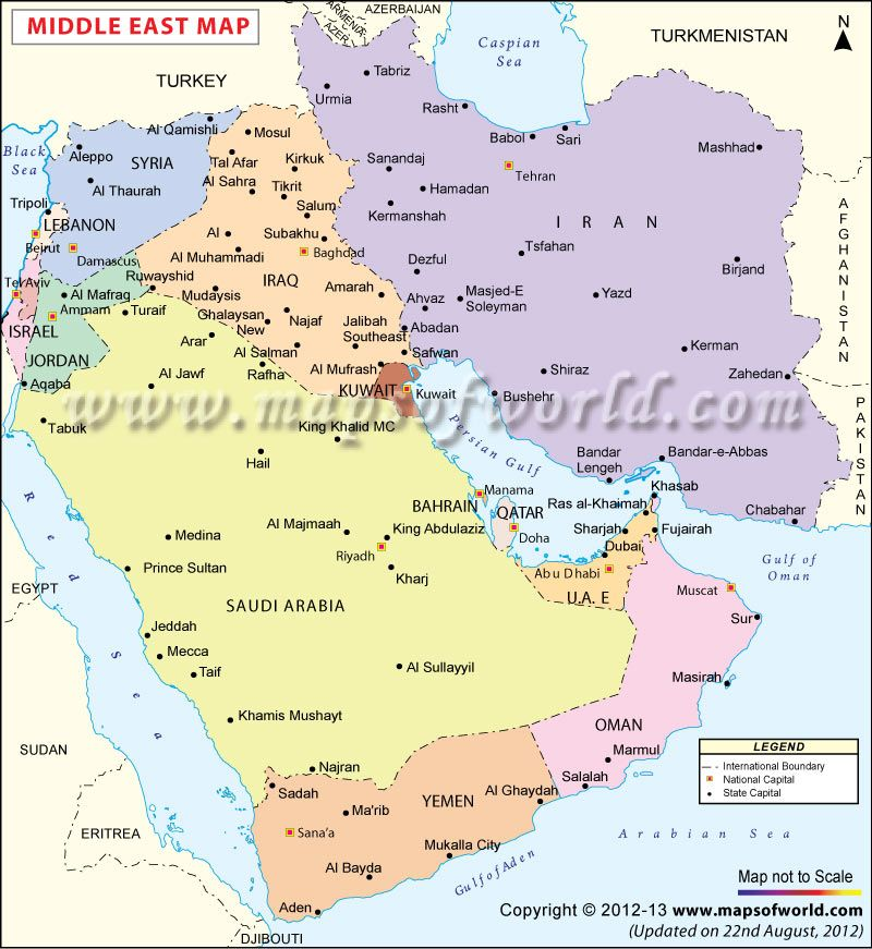 map showing the boundaries of saudi arabia uae iraq iran etc countries in middle east region