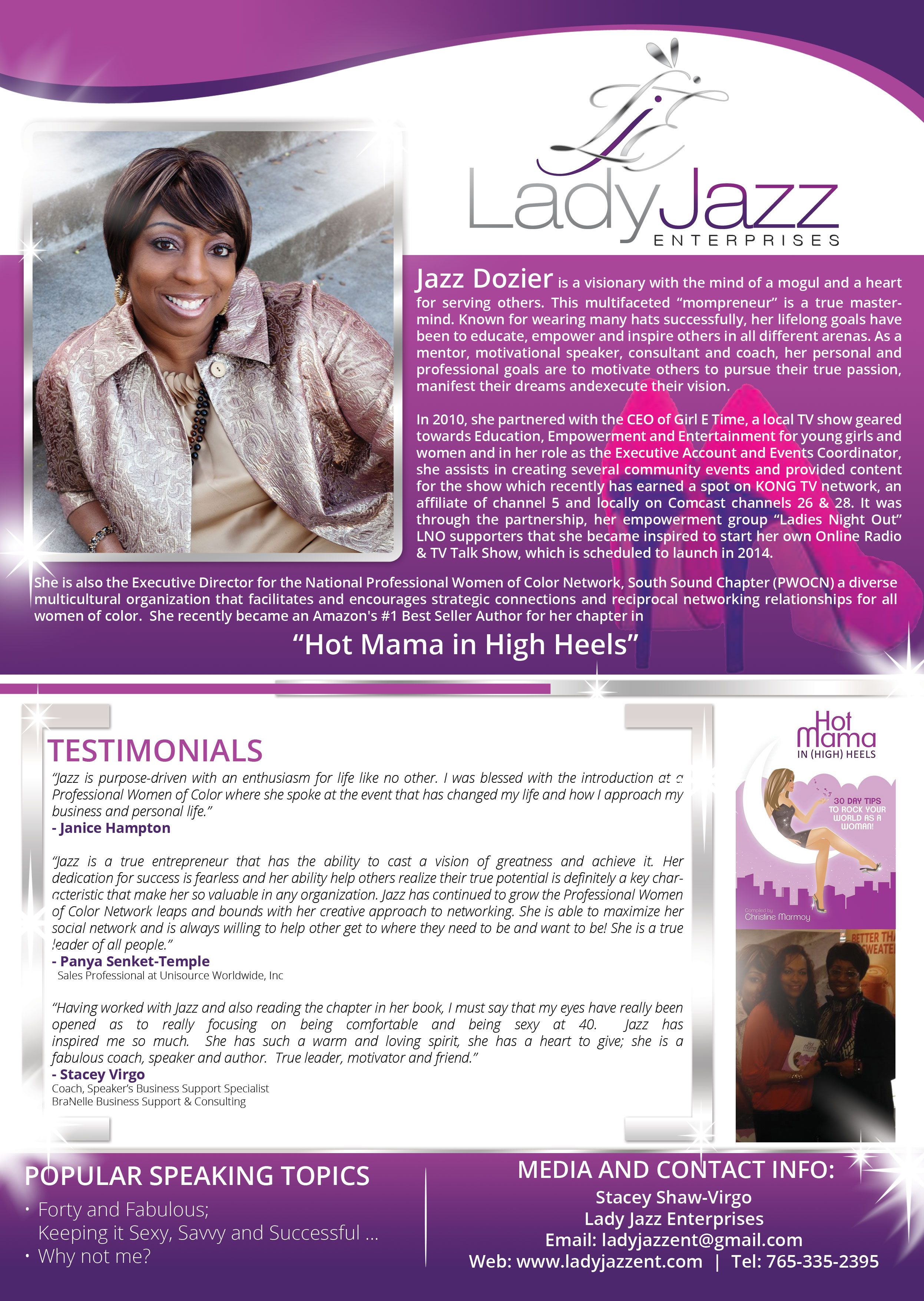 Jazz Dozier Also Known As Lady Jazz Speaker One Sheet.  One Sheet Template Word
