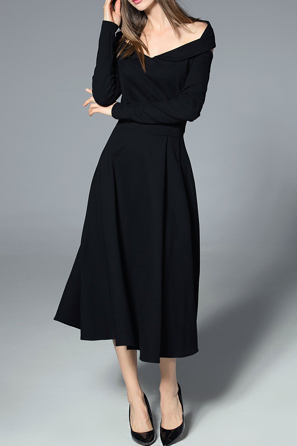9f4c4ca18a Blueoxy Black Long Sleeve Off The Shoulder Dress